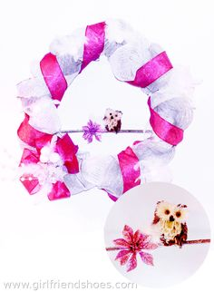 Mesh Wreath | pink white silver LED lights