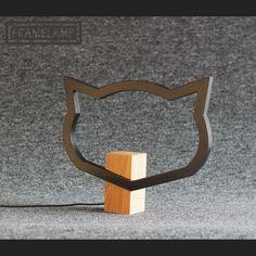Kedi kafası şeklinde ahşap abajur Zet.com'da 250 TL