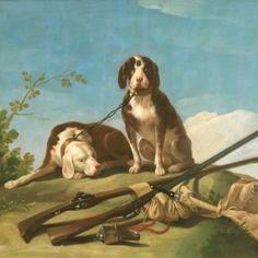 Dogs on leash 1775 - Francisco de Goya y Lucientes - oil painting reproduction Francisco Goya, Art Espagnole, Famous Dogs, Spanish Art, William Turner, Spanish Painters, Oil Painting Reproductions, Art Store, Dog Art