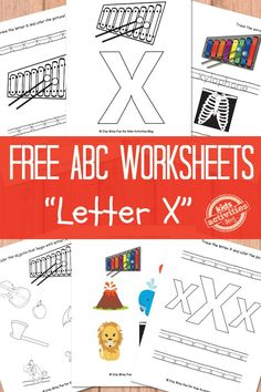 Letter X Worksheets Free Kids Printable - also has links to alphabet worksheets for all letters.  Great for preschool or simple learning activities at home from Kids Activities Blog.