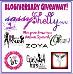 Sassy Shelly is having an amazing one year blogiversary giveaway!!! Follow this link for your chance to enter to win 1 of 6 amazing prizes!!! http://www.sassyshelly.com/2013/05/one-year-blogiversary-giveaway.html?showComment=1368808432625=1