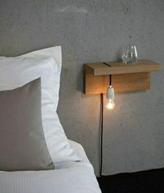 Floating Shelf Ideas - My List of Lists Minimalist bedside table. … Floating Shelf Ideas - My List of Lists Minimalist bedside table. …Floating Shelf Ideas - My List of Lists Minimalist bedside table. Home Bedroom, Modern Bedroom, Bedroom Decor, Bedroom Night, Bedroom Ideas, Trendy Bedroom, Bedroom Black, Decor Room, Bedroom Wall