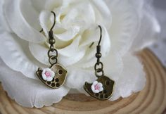 Virgo special: flying bird Rose drop earrings woodland vintage bronze cottage flower shabby chic cute dangle jewellery accessory