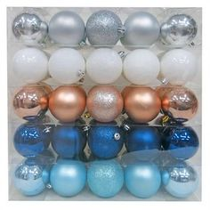 50ct 70mm Blue Silver Copper Shatterproof Christmas Ornament Set - Wondershop™