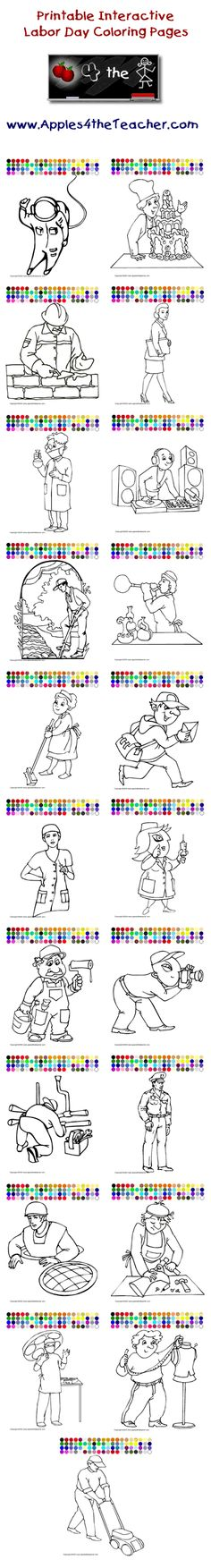 Printable Interactive Labor Day Coloring Pages For Kids