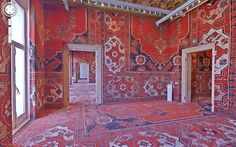 red interior, carpets all over