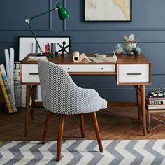 Mid Century Desk – Acorn + White in Office Space