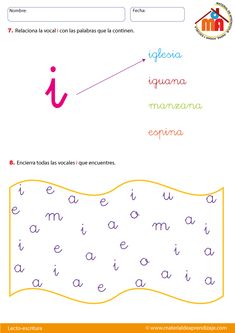 la vocal i Cursive, Leo, Preschool, David, 3 Year Olds, Preschool Worksheets, Toddler Activities, Spanish Worksheets, Teaching Letters
