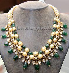 Pearls and emarald beads set by Hiya jewellers - Latest Jewellery Designs