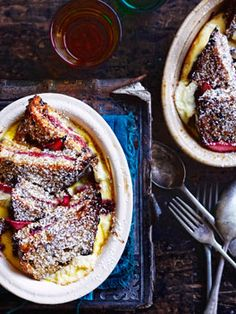 Rhubarb and ricotta bread and butter pudding :: Gourmet Traveller Magazine Mobile Vegan Desserts, Just Desserts, Dessert Recipes, Vegan Recipes, Rhubarb Bread, Bread And Butter Pudding, Mousse, Sorbets, Rhubarb Recipes