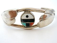 Sterling-Silver-Cuff-Bracelet-with-Inlay-Coral-Turquoise-Black-Onyx-MOP-Boho
