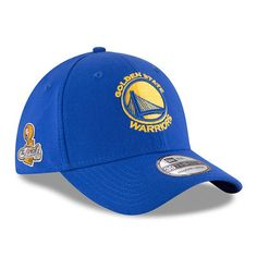 Men s Golden State Warriors New Era Royal 2017 NBA Finals Champions Side  Patch 39THIRTY Flex Hat b6006da6de2