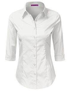 LA BASIC Womens 34 Sleeve Button Down Point Collared Shirts WHITE XL ** Continue to the product at the image link.Note:It is affiliate link to Amazon. #gamergirls