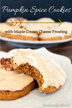 Pumpkin Spice Cookies with Maple Cream Cheese Frosting. It's the best of fall wrapped up in a soft & chewy cookie! | http://domesticallyblissful.com/pumpkin-spice-cookies-maple-cream-cheese-frosting/