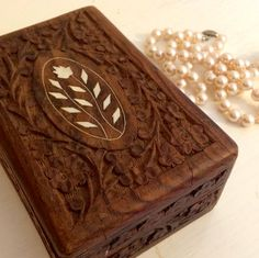 Hand Carved Wooden Jewelry Box with Flowers Intricate Patterns Made