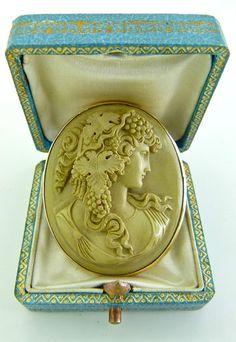RARE Exquisite Antique Solid 14k Gold And Lava Cameo Of A Goddess | eBay