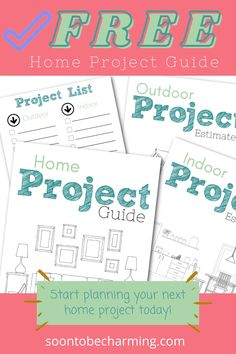 Get this free home project guide to help you organize and budget for your next project! Write down estimates, sort projects by cost...this guide can help you keep everything in one spot! #soontobecharming #homeprojects #diy #organize #budget #homeimprovementonabudget Organizing Your Home, Home Organization, Project List, Diy On A Budget, Home Projects, Budgeting, Organize, Easy Diy, Home Improvement