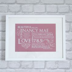 Birth Announcement Frame - An elegant way to treasure those precious memories of your beautiful newborn!