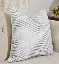 Front Fabric:Robert Allen Color Grids in Hydrangea Blue - Back Fabric: Off White Linen Fabric  *This listing is for One Pillow Cover. The Pillow
