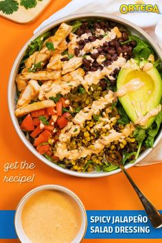 Turn up the heat. Learn the simple recipe for our Homemade Spicy Jalapeno Salad Dressing. Chicken Salads, Taco Salads, Healthy Chicken, Mexican Salad Dressings, Salad Dressing Recipes, Veggie Cups, Veggie Dishes, Homemade Seasonings, Homemade Sauce