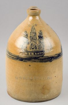 Stoneware, Jug, Cobalt Ship and Lighthouse Decoration, Rare New England, anonymous Circa 1845 to 1855 Ship decoration is extremely rare, lighthouse decoration is unknown, a combination of elaborately rendered nautical symbolism, UNIQUE