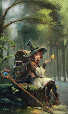 DrawCrowd red hair green eyes young witch, traveler, mage