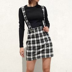 Vintage Plaid Woven Belt Skirt High Waist Fashion A-Line Mini Skirt Woman Autumn Winter 18 Harajuku Button Skirts Womens Suspenders Outfit, Overalls Outfit, Trendy Outfits, Fall Outfits, Fashion Outfits, Ladies Fashion, Women's Fashion, Sweater Outfits, Retro Fashion