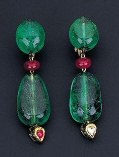 Emerald and ruby earrings. by celeste