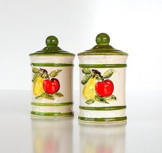 Salt and Pepper Shakers Set Vintage Pottery 50s by retrogroovie, $13.99