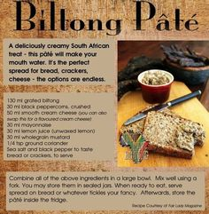 Amazing spread for bread, crackers and cheese. It tastes amazing! Never thought you could use biltong (similar to beef jerky) as a pate. You can even use beef jerky instead of biltong. Braai Recipes, Wine Recipes, Snack Recipes, Cooking Recipes, South African Dishes, South African Recipes, Kos, Biltong, Banting Recipes