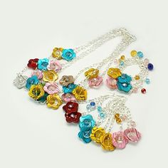 Fashion Glass Jewelry Sets: Earrings, Bracelets & Necklaces, with Spray Painted Shell Flower Beads.