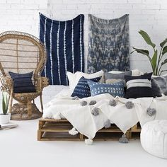 INDIGO HEAVEN  Just in case you missed it last night, we've added a heap of new mudcloth, indigo and Hmong cushions to our online store. Pictured here with our brand new Pom Pom blankets styled & photographed beautifully by the talented @villastyling. There's only one of each handmade design so you'll need to be quick. (Link in bio)