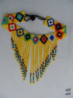 African Maasai Beaded Choker Necklace, African Choker, Multicolored Necklace, One Size Fits All, Gif Beaded Earrings Patterns, Beading Patterns, Diy African Jewelry, Glass Bead Crafts, Turquoise Tassel Earrings, Beaded Choker Necklace, Fringe Necklace, Beaded Crafts, Beaded Collar