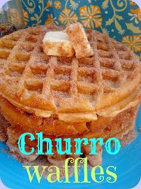 Churro Waffles - Did a re-make of this recipe using frozen waffles.  I heated some oil in a skillet, cooked the waffles until slightly golden on both sides, then dipped in a cinnamon-sugar mixture (both sides).  So good and easy!!  The family loved them.