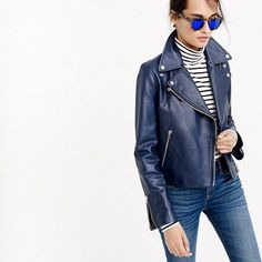 leather jacket outfit - Collection leather motorcycle jacket on its way to my closet! Blue Leather Jacket Outfit, Biker Jacket Outfit, Moto Jacket, Black Leather Motorcycle Jacket, Sporty Chic Style, Boho Style, Outerwear Women, Helen Mirren, Skinny