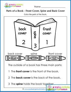 Parts of a Book Worksheets & Vocabulary Cards - Check out this set of kindergarten worksheets - this is a page about the front cover, spine and back cover of a book.Click through to see all the fun pages in this set. Kindergarten Vocabulary, Kindergarten Language Arts, Kindergarten Lesson Plans, Vocabulary Cards, Kindergarten Lessons, Homeschool Kindergarten, Kindergarten Reading, Kindergarten Worksheets, Vocabulary Worksheets