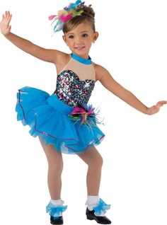 Multi sequin silky stretch and turquoise spandex leotard with illusion neckline. Attached sash and turquoise tricot tutu. Feather pouf and sequin trim. Made in the USA. Feather headpiece and shoe ties included XS Dance Picture Poses, Dance Poses, Dance Pictures, Photo Poses, Little Girl Ballerina, Little Girl Dancing, Little Girl Photography, Dance Photography Poses, Cute Dance Costumes