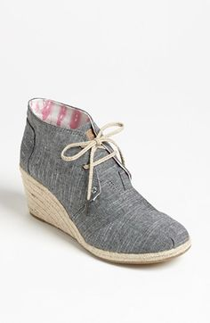TOMS 'Desert' Chambray Wedge Bootie available at #Nordstrom
