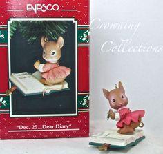 Enesco Dec 25 Dear Diary Ornament Mouse Mice RARE December Dec... Christmas MIB