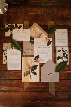 Ivory and Green Wedding Invitation Suite with Magnolia Tree Detail and Sheer Ribbon Enclosure | Sarasota Wedding Stationery Citrus Press Co.