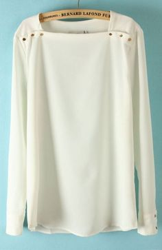 White Square Neck Long Sleeve Shoulder Buttons Blouse - Sheinside.com