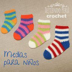 Medias cortas tejidas a crochet para niños en 4 tallas (desde recién nacidos hasta 12 o 15 meses)!  English subtitles: crochet ankle socks (sizes: new born to 12 or 15 montes old)!