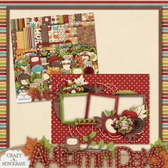 Scrapbooking TammyTags -- TT - Designer - Crazy For Monograms,  TT - Item - Quick Page, TT - Style - Brag Book, TT - Theme - Autumn or Thanksgiving