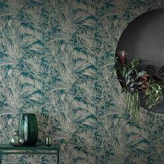 Areca by Romo - Hummingbird - Wallpaper : Wallpaper Direct Romo Wallpaper, Luxury Wallpaper, Unique Wallpaper, Wallpaper Decor, Leaves Wallpaper, Beautiful Wallpaper, Wallpaper Ideas, Hummingbird Wallpaper, Romo Fabrics