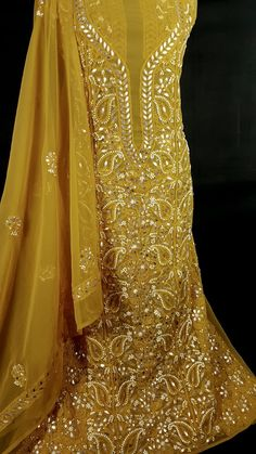 Chrome yellow with mesmerizing hand needle Chikankari and gotta patti work Saga, Chrome, Suits, Yellow, Formal Dresses, Clothes, Beautiful, Design, Fashion