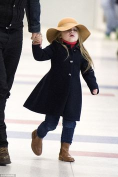 Trend-setter: Harper has grown up a lot in recent weeks and was sporting a very fashionable ensemble