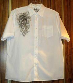 Men's Elixir White Skull Short Sleeve Button Front Shirt Size 2XL