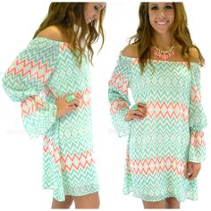 River Rouge Mint Open Shoulder Bell Sleeve Dress | Amazing Lace