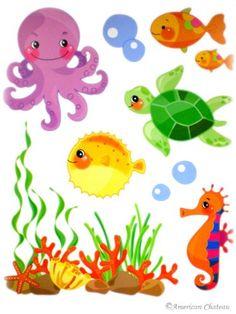 Sea Aquatic Kids Room Wall Mural Sticker Decal Wallies by American Chateau