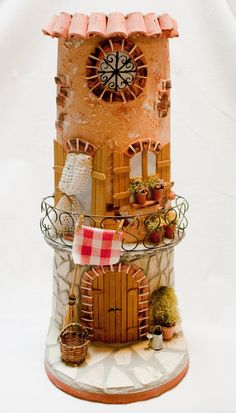 Handcrafted Tegola home decor house miniature